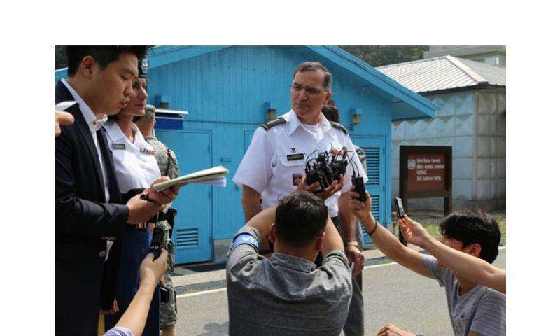Gen. Curtis M. Scaparrotti, United States Forces Korea commander, speaks with media members outside the Freedom House by the Demilitarized Zone following the celebration of the 61st anniversary of the signing of the Korean armistice. Scaparrotti said the U.S. and South Korea are considering leaving the Combined Forces Command in Seoul following the transfer of U.S. troops on Camp Humphreys in the coming years. (RUSSELL YOUMANS/U.S. ARMY)