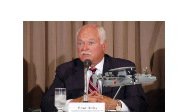 Brad Hicks, vice president of radar programs at Lockheed's Mission Systems and Sensors business talks to reporters in Tokyo on Thursday, July 31, 2014. (SETH ROBSON/STARS AND STRIPES)