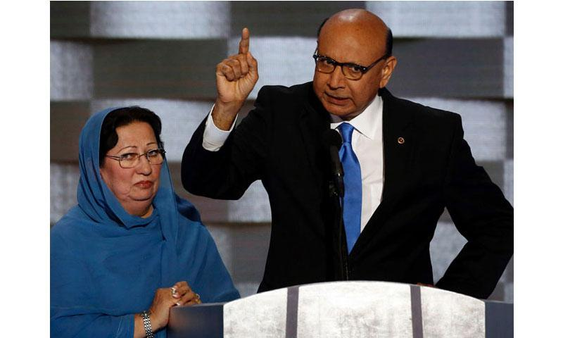 Khizr Khan speaks during the Democratic National Convention in Philadelphia on Thursday, July 28, 2016. (Carolyn Cole, Los Angeles Times/TNS)