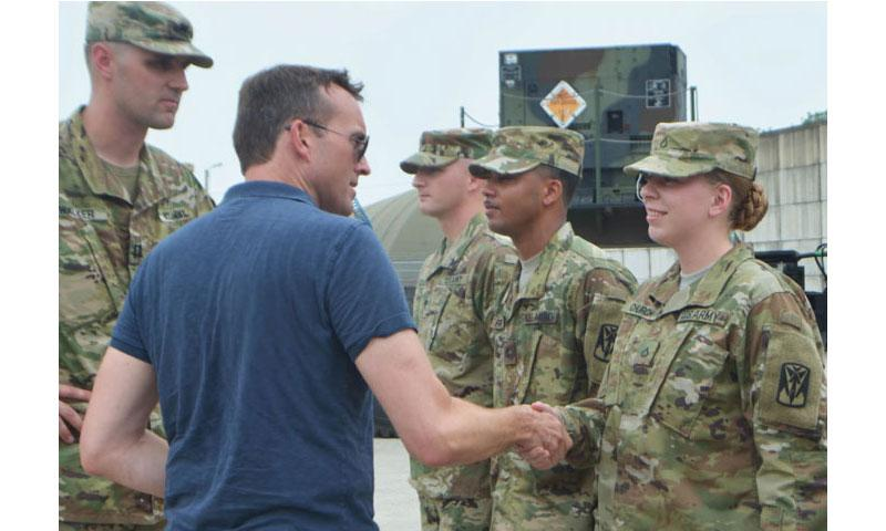 U.S. Army Secretary Eric Fanning meets soldiers from the 35th Air Defense Artillery Brigade at Osan Air Base, South Korea, Tuesday, Aug. 2, 2016. (Kim Gamel/Stars and Stripes)