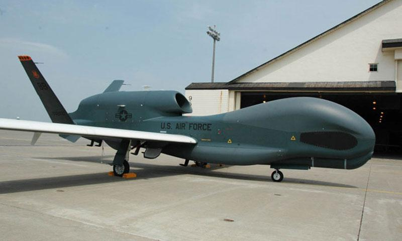 A Global Hawk unmanned surveillance drone is parked at Misawa Air Base, Japan, in 2014. Because of bad weather, two Guam-based Global Hawks landed at Kadena Air Base on Okinawa, Monday, Aug. 1, 2016. (Seth Robson/Stars and Stripes)