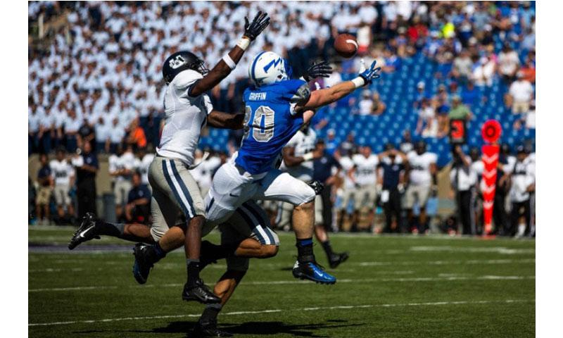 Air Force tight end Garrett Griffin (80) comes up short on a pass during during an NCAA college football game against Utah State, Saturday, Sept. 7, 2013, in Air Force Academy, Colo. Utah State won 52-20. (Kent Nishimura/The Gazette)