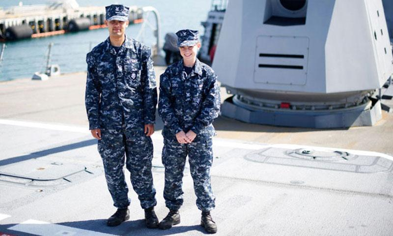 Sailors wear the Navy's Type I uniform aboard the guided-missile destroyer USS Chafee, June 11, 2014. The clothing has been widely panned by sailors as uncomfortable and heavy, and was found to be unsafe near fire. (David Kolmel/U.S. Navy Photo)