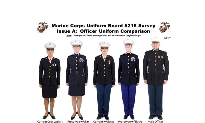 This image, taken from an online survey conducted by the Marine Corps, shows the current look of the women's dress blues coat and prototypes currently under development. Once the survey ends on Aug. 9, 2015, the gathered feedback will be presented to the Commandant of the Marine Corps as part of a potential update to the Corps' uniform regulations. (Courtesy U.S. Marine Corps)
