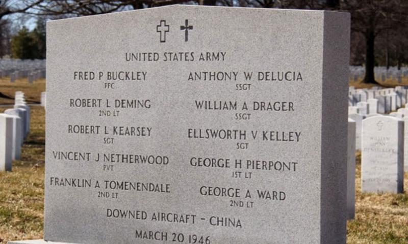 Managers at Arlington National Cemetery in Virginia for years resisted the entreaties of family members to change the date on a marker commemorating the crew of a B-24 that crashed in China on Aug. 31, 1944, instead keeping the date they were officially declared dead by the Army. The cemetery announced it is changing the date. (Rick Vasquez/Stars and Stripes)