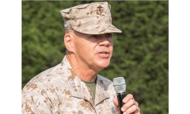 Commandant of the Marines Corps Gen. Robert B. Neller gives remarks during a graduation ceremony at the Officer Candidate School, Quantico, Va., Aug. 6, 2016. (Samantha K. Draughon/U.S. Marine Corps)