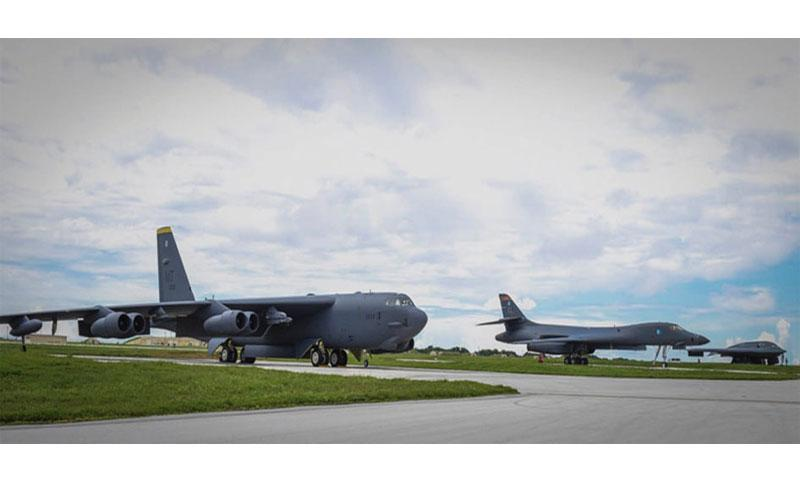 A B-52 Stratofortress, left to right, B-1 Lancer and B-2 Spirit share the flight-line at Andersen Air Force Base, Guam, Wednesday, Aug. 10, 2016. Secretary of the Air Force Deborah Lee James said this marks the first time in history all three bombers have been in the U.S. Pacific Command area of responsibility at the same time. (Courtesy of U.S. Pacific Command)