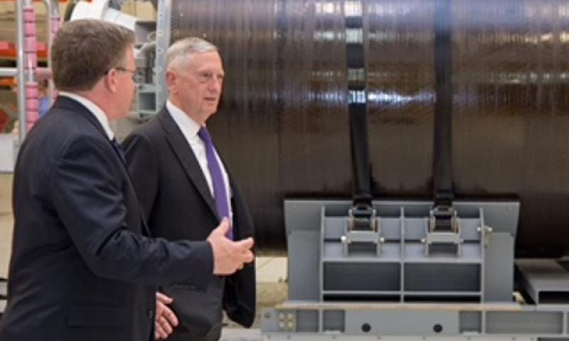 On the first day of a two-day trip to Washington and California, Defense Secretary Jim Mattis tours the Strategic Weapons Facility Pacific Missile Assembly Building at Naval Base Kitsap, in Bangor, Wash., Aug. 9, 2017. (DoD photo by Air Force Staff Sgt. Jette Carr)
