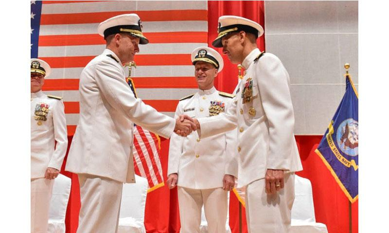 Rear Adm. Richard Correll, left, takes command of Submarine Group 7, Task Force 54 and Task Force 74 from Rear Adm. William Merz, right, Wednesday, Aug. 17, 2016, at Yokosuka Naval Base, Japan. (Brian Reynolds/U.S. Navy)