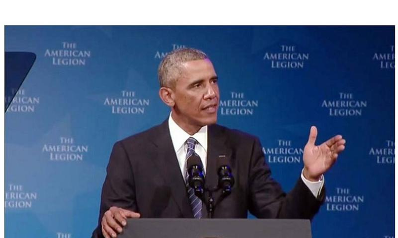 President Barack Obama addresses the American Legion national convention Tuesday, Aug. 26, 2014, in Charlotte, N.C. (Screen grab from White House video)