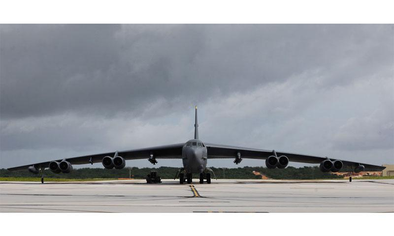 A B-52 Stratofortress prepares to taxi on Andersen Air Force Base, Guam, Aug. 24, 2016. The B-52s have served non-stop rotations since 2006, which have been shared between the bomber squadrons from Minot AFB, N.D., and Barksdale AFB, La. (U.S. Air Force photo by Staff Sgt. Benjamin Gonsier)