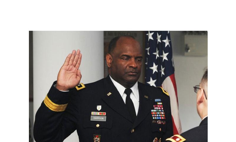 Maj. Gen. Michael T. Harrison during a ceremony at Camp Zama, Japan, Jan. 10, 2013. (Jay Mann/U.S. Army)
