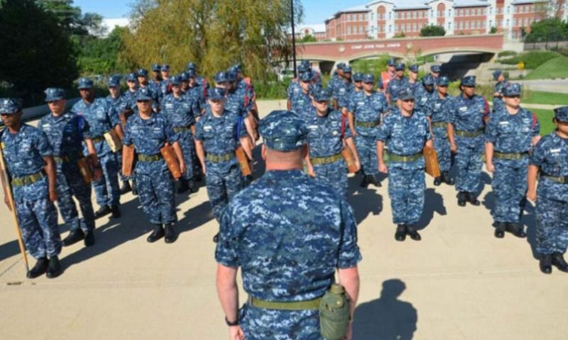 Chief petty officer selects stand in formation at Recruit Training Command in Great Lakes, Ill., in this undated file photo. (Adam Demeter/U.S. Navy)