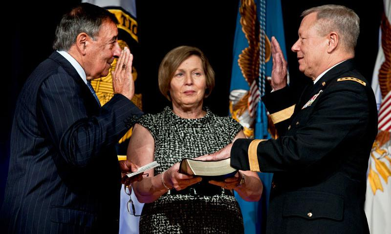 Defense Secretary Leon E. Panetta swears in Army Lt. Gen. Frank J. Grass as National Guard Bureau chief during the change-of-responsibility ceremony for chief at the Pentagon, Sept. 7, 2012. Grass, who received his fourth star during the event, replaced Air Force Gen. Craig R. McKinley. DOD photo by U.S. Navy Petty Officer 1st Class Chad J. McNeeley