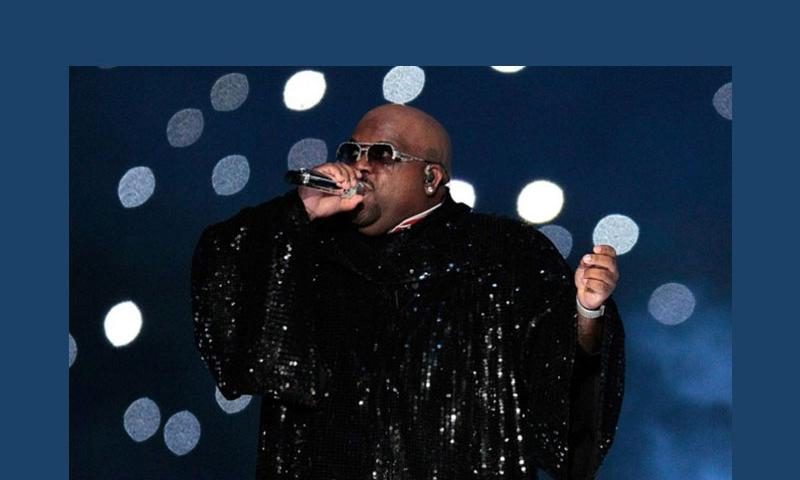 Cee Lo Green performs during the halftime show of Superbowl XLVI on Feb. 5, 2012, at Lucas Oil Stadium in Indianapolis. (Mark Cornelison, Lexington Herald-Leader/MCT)