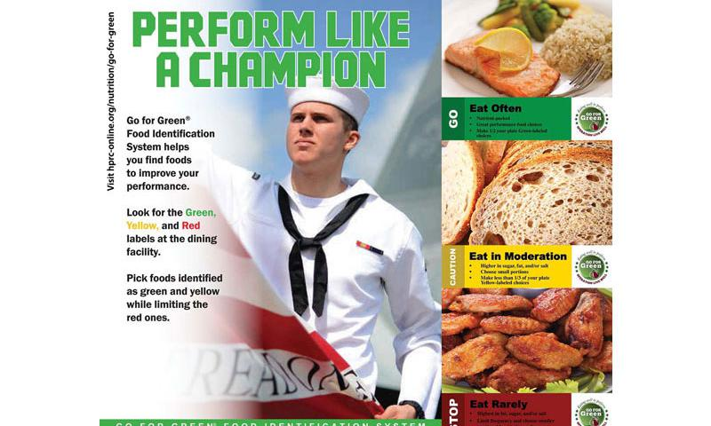 """A """"Go for Green"""" promotional poster aimed at Navy personnel. (Human Performance Resource Center)"""