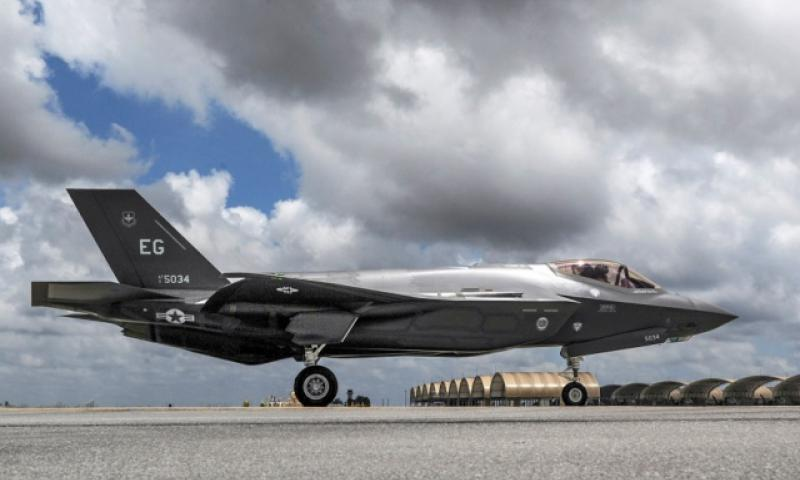 An F-35A Lightning II taxis across the flightline on Eglin Air Force Base, May 28, 2014. (Christopher Callaway/U.S. Air Force)