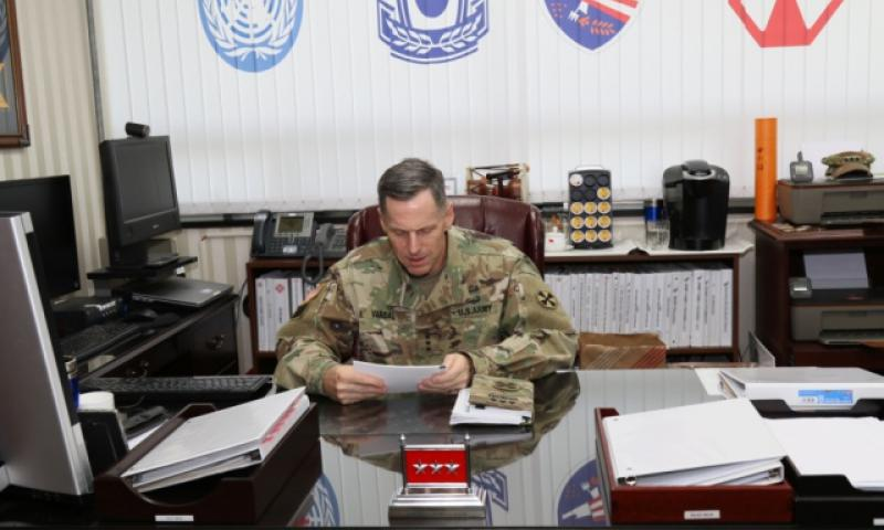 Lt. Gen. Thomas Vandal, Eighth Army commander, in his office at Yongsan, on Thursday, Sept. 22, 2016. Vandal said that the increasing threat from North Korea means decisions about moving U.S. forces away from the front lines must be driven by conditions, not timelines. (Jung Dong-in/Courtesy U.S. Army)
