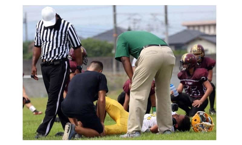 Four players were injured in the first half for Robert D. Edgren in its 23-0 loss on Saturday at Matthew C. Perry. The game was called with 4:23 left in the first half when the Eagles ran short of players. (Eric Martinez/Special to Stars and Stripes)