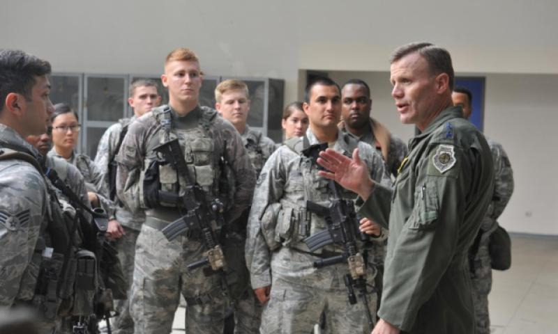 U.S. Air Force Gen. Tod D. Wolters, U.S. Air Forces in Europe and U.S. Air Forces Africa commander, speaks to members of the 39th Security Forces Squadron during a visit to Incirlik Air Base, Turkey, Aug. 31, 2016. The Defense Department has made assignments to Turkey one-year, unaccompanied tours for all DOD personnel. Joshua T. Jasper/U.S. Air Force
