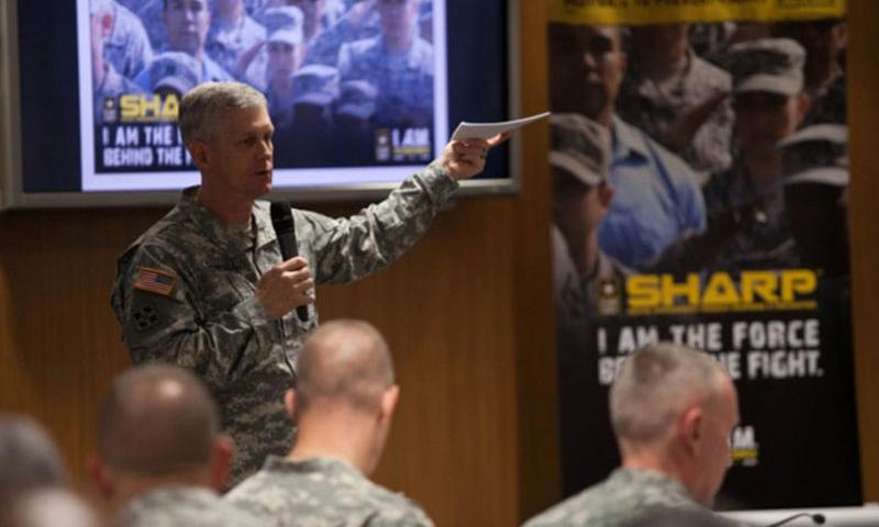 Lt. Gen. Donald M. Campbell Jr., commander of U.S. Army Europe, gives the opening remarks Tuesday, Sept. 23, 2014, at a 2-day summit on sexual assault in the Army. (Matt Millham/Stars and Stripes)