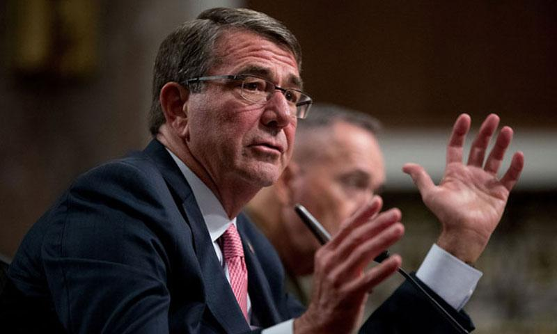 Defense Secretary Ash Carter, accompanied by Joint Chiefs Chairman Gen. Joseph Dunford, testifies on Capitol Hill in Washington on Sept. 22, 2016. (Andrew Harnik/AP)