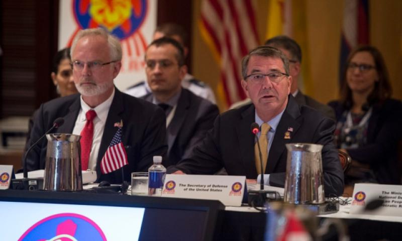 Secretary of Defense Ash Carter provides the opening remarks at the Association of Southeast Asian Nations conference on Friday, Sept. 30, 2016, in Kapolei, Hawaii. (Brigitte N. Brantley/U.S. Air Force)