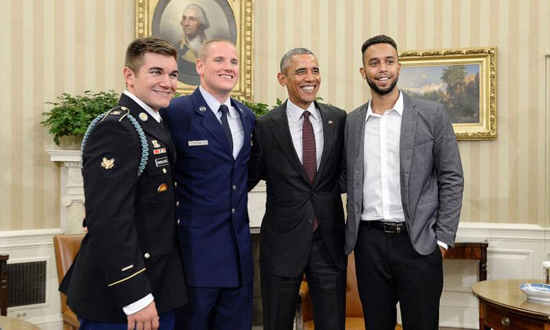 President Barack Obama in the Oval Office of the White House on Sept. 17, 2015, meets with Army Spec. Alek Skarlatos, Air Force Airman 1st Class Spencer Stone and Anthony Sadler, the three who stopped a terror attack on a train bound to Paris in August. On Thursday, Oct. 8, 2015, Stone was recuperating after having been repeatedly stabbed just after midnight in Sacramento, Calif. (Olivier Douliery/Abaca Press/TNS)