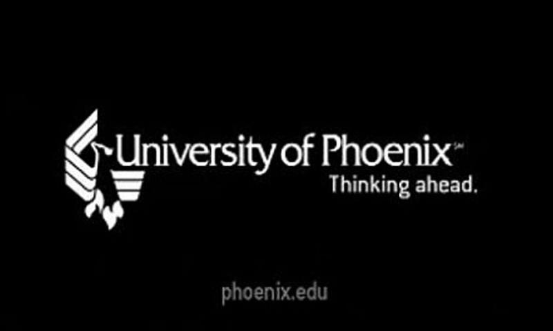 A screen grab shows a University of Phoenix logo at the end of a promotional video. (YouTube)