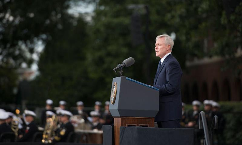 WASHINGTON (Sept. 22, 2013) Secretary of the Navy (SECNAV) Ray Mabus delivers remarks during a memorial service at the Marine Barracks for the victims of the Washington Navy Yard shooting. (U.S. Navy photo by Mass Communication Specialist 2nd Class Stuart Phillips/Released)