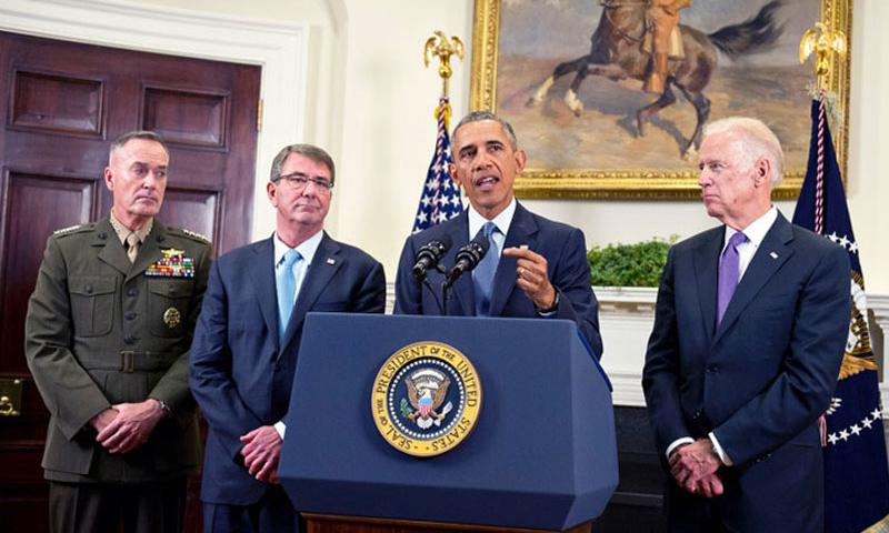 U.S. President Barack Obama announces he will keep 5,500 U.S. troops in Afghanistan when he leaves office in 2017 in the Roosevelt Room of the White House on Thursday, Oct. 15, 2015. Looking on, from left, are U.S. Marine Corps General Joseph F. Dunford, chairman of the Joint Chiefs of Staff; U.S. Secretary of Defense Ashton Carter; and U.S. Vice President Joe Biden. (Ron Sachs, Sipa USA/TNS)