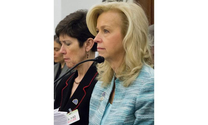 Allison A. Hickey, right, the Department of Veterans Affairs' undersecretary for benefits, at a House Appropriations subcommittee hearing on March 4, 2015. With her is Carolyn M. Clancy, the VA's interim undersecretary for health. (Joe Gromelski/Stars and Stripes)