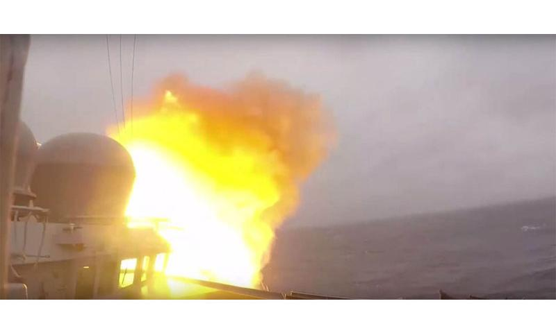 In this screen shot from a U.S. Navy video, an SM-3 missile launches from the destroyer USS Ross during an exercise in the Hebrides Range, near Scotland, on Tuesday, Oct. 20, 2015. The missile intercepted a ballistic missile in space, marking a new 1st for a U.S. Navy ship at a foreign range. (Courtesy of the U.S. Navy)