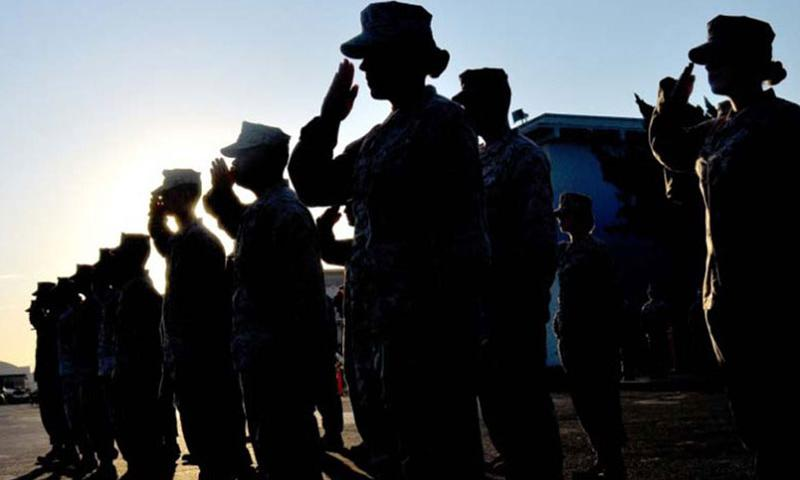 U.S. Marines salute during a formation on Marine Corps Air Station Miramar, Calif., on Sept 4, 2012. (Photo by Jamean Berry/U.S. Marines)