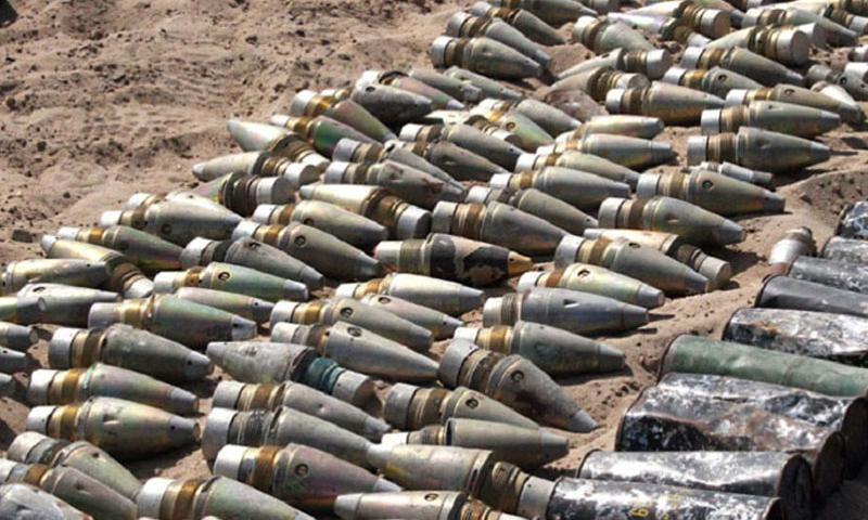 Soldiers from 3rd Brigade, 1st Armored Division uncovered these munitions in a large weapons cache in Iraq on Sept. 28, 2005. (Kevin Bromley/U.S. Army)
