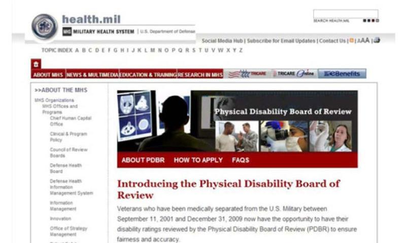 Physical Disability Board of Review website at Health.mil (www.health.mil)