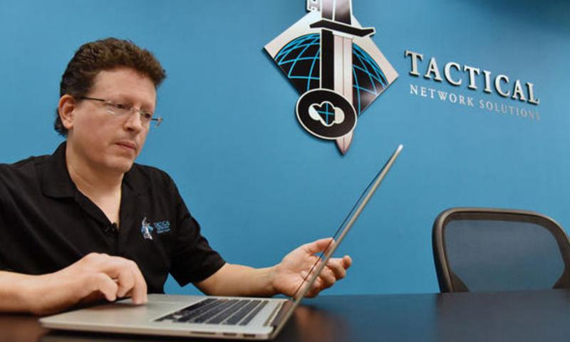 Terry Dunlap, owner and founder of Tactical Network Solutions, talks about how easy it is to hack devices connected to the internet on Oct. 23, 2015 in Columba, Md. (Kim Hairston/Baltimore Sun/TNS)