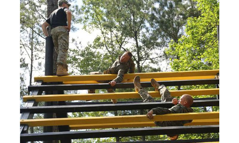 Soldiers negotiate an obstacle course during the Ranger Course on Fort Benning, Ga., in April 2015. The U.S. Army Ranger School is now officially open to women. (Nikayla Shodeen/U.S. Army)