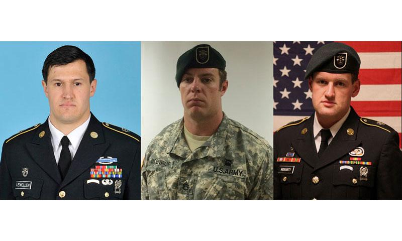 The Pentagon has identified the three Special Forces soldiers supporting the anti-Islamic State coalition who died after their convoy came under fire on Friday while entering a military base in Jordan. From left to right: Staff Sgt. Matthew C. Lewellen, 27; Staff Sgt. Kevin J. McEnroe, 30; and Staff Sgt. James F. Moriarty, 27. (U.S. Army)