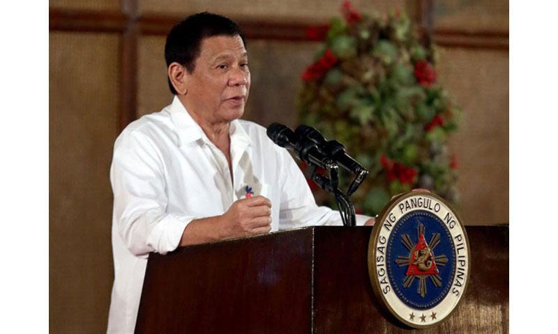 Philippine President Rodrigo Duterte delivers a speech on Monday, Nov. 7, 2016 at the Malacanang presidential palace in Manila, the Philippines. (Rouelle Umali, XinhuaSipa USA/TNS)