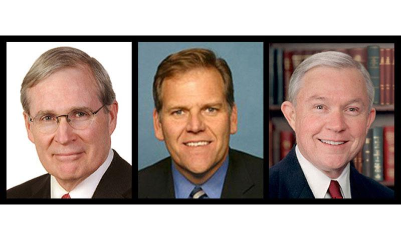 From left, former national security adviser Stephen Hadley, former U.S. House Rep. Mike Rogers and Sen. Jeff Sessions, R-Ala.