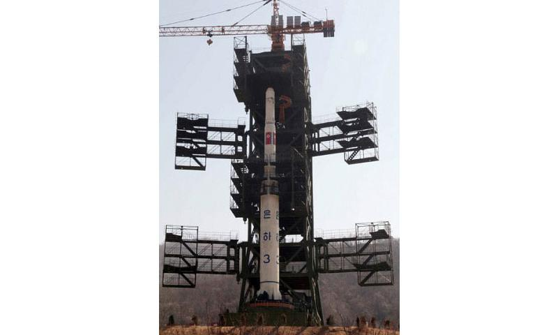 The Unha-3 rocket for launching Kwangmyongsong-3 satellite installed on the launch pad at Tongchang-ri base, the Democratic People's Republic of Korea (DPRK) is seen in this April 8, 2012 photo. Media reports said the Democratic People's Republic of Korea launched an earth observation satellite on April 13, 2012, where it broke up quickly and splashed into the Yellow Sea. (Zhang Li/Xinhua/Zuma Press)