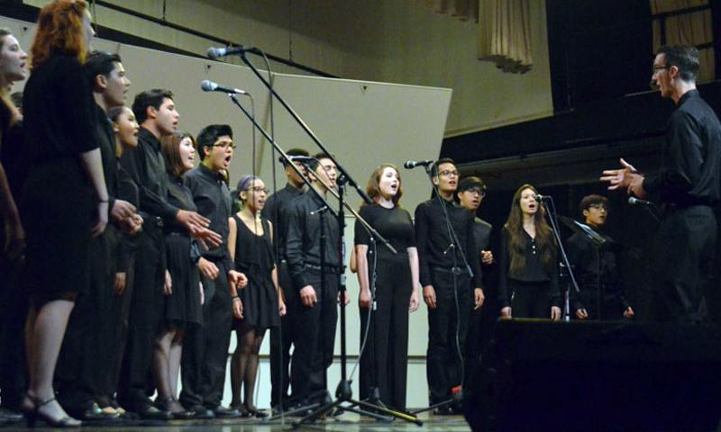 The jazz choir performs during Thursday's grand-finale concert at Kubasaki High School as part of during the DODDS Pacific Far East Jazz and Modern Music Festival. (Dave Ornauer/Stars and Stripes)