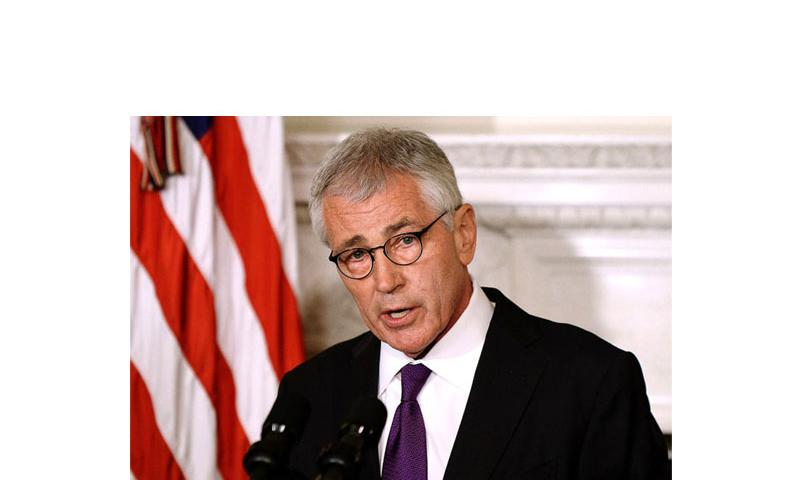 Secretary of Defense Chuck Hagel announces his resignation on Monday, Nov. 24, 2014 at the White House. (Olivier Douliery, Abaca Press/TNS)