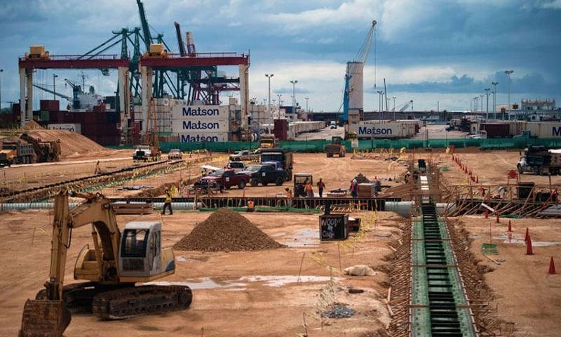 Construction projects at the Port of Guam are seen. (Photo by Adrian Cadiz, U.S. Air Force)