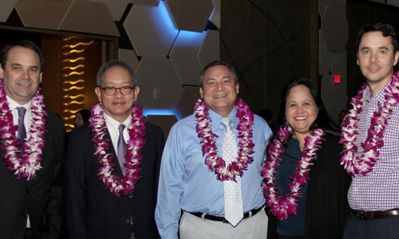 Pictured from left to right: Mr. Dean Huntsman, Dusit Thani Guam Resort General Manager, Mr. Chanin Donavanik, Dusit International Managing Director &CEO, Mr. Eddie Baza Calvo, Governor of Guam, Senator Tina Rose Muna Barnes, Legislative Tourism Committee Chairperson, and Mr. Jon Nathan Denight, Guam Visitors Bureau General Manager