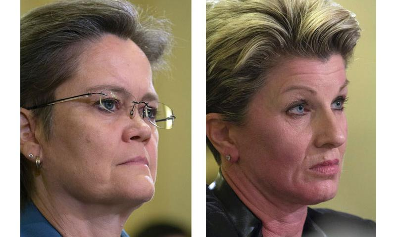 VA officials Diana Rubens of Philadelphia, left, and Kimberly Graves of St. Paul, Minn., at a House Veterans Affairs Committee hearing in Washington, Nov. 2, 2015. (Joe Gromelski/Stars and Stripes)