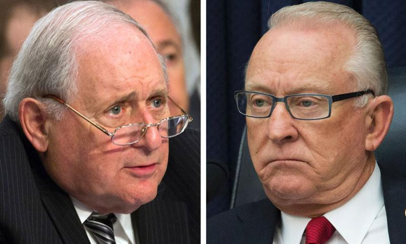 """Knocking heads over provisions of the defense bill are the retiring chairmen of the armed services committees, Sen. Carl Levin, D-Mich., left, and Rep. Harold """"Buck"""" McKeon, R-Calif. (Joe Gromelski/Stars and Stripes)"""