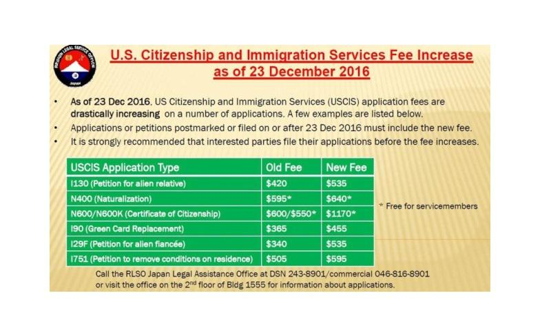 U.S. Citizenship and Immigration Services application fees will jump drastically starting Dec. 23, 2016. It's the agency's first price increase in six years. (Courtesy of the U.S. Navy)