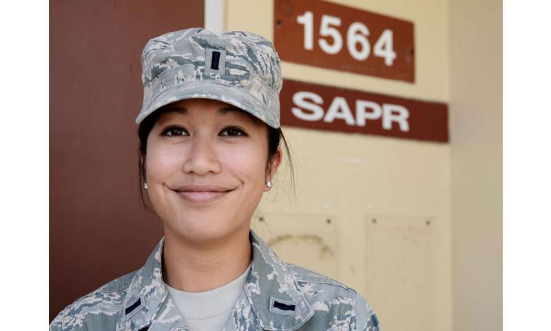 1st Lt. Diana Wong, 36th Wing sexual assault response coordinator, is pictured Dec. 5, 2013 on Andersen Air Force Base, Guam. Wong and her shop, to include one full-time victim advocate, one alternate SARC and eight volunteer victim advocates are tasked with reaching out to numerous people about sexual assault while also ensuring they are informed and trained on the prevention of sexual assault. (U.S. Air Force photo by Airman 1st Class Adarius Petty/Released)